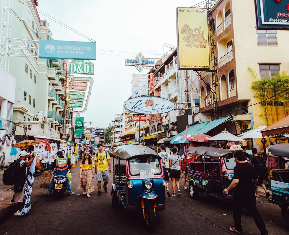 Millions of visitors travel in Bangkok each year. Khao San Road is notorious for bustling markets and nightlife