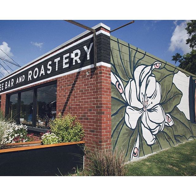 We've been partnering with Virginia Beach-based roasters @threeshipscoffee to spice up their brand, merch, *and* exterior with some custom nautically- and regionally-influenced artwork. - Mural by @timskirven, swipe for progress pics