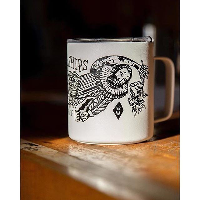 We've been partnering with Virginia Beach-based roasters @threeshipscoffee to spice up their brand, merch, *and* exterior with some custom nautically- and regionally-influenced artwork. - Mug shot by @m.xoz