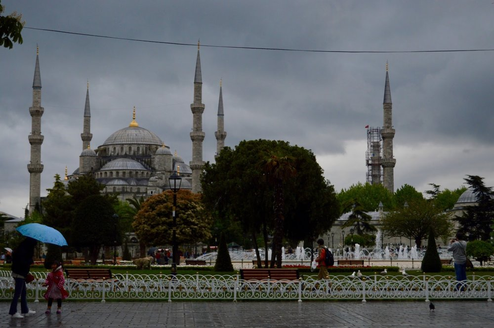 Blue mosque looking grey.