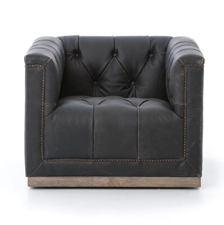 SWIVEL DISTRESSED LEATHER CHAIR