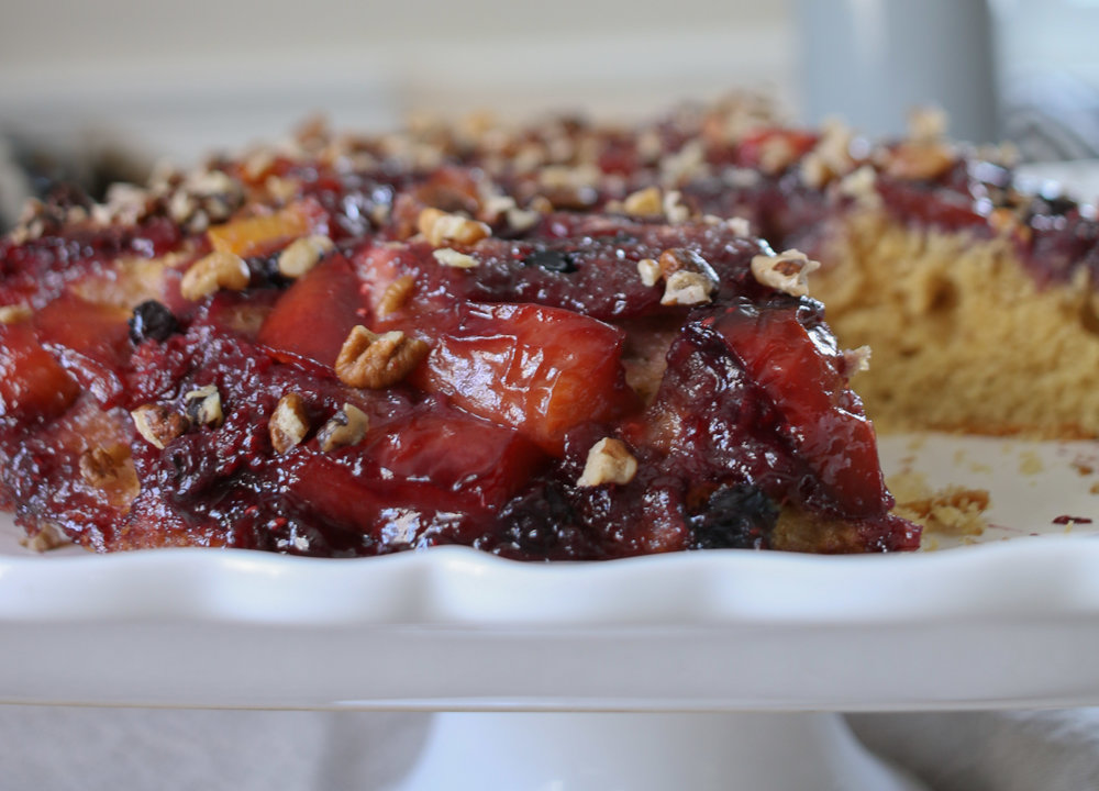 Nectarine & Berry Upside Down Cake with hickory nuts & molasses  -