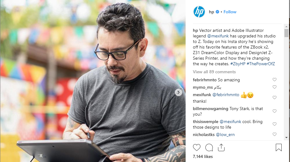HP doing B2B on instagram