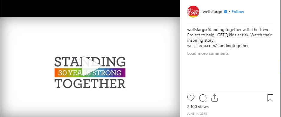B2B instagram in finance Wells Fargo