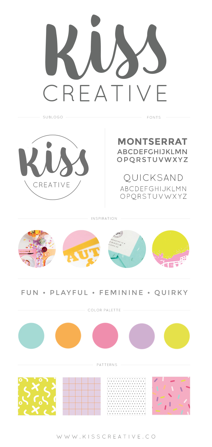 Kiss Creative Brand Style Guide | Brand Design Inspiration, check out the brand launch at www.kisscreative.co