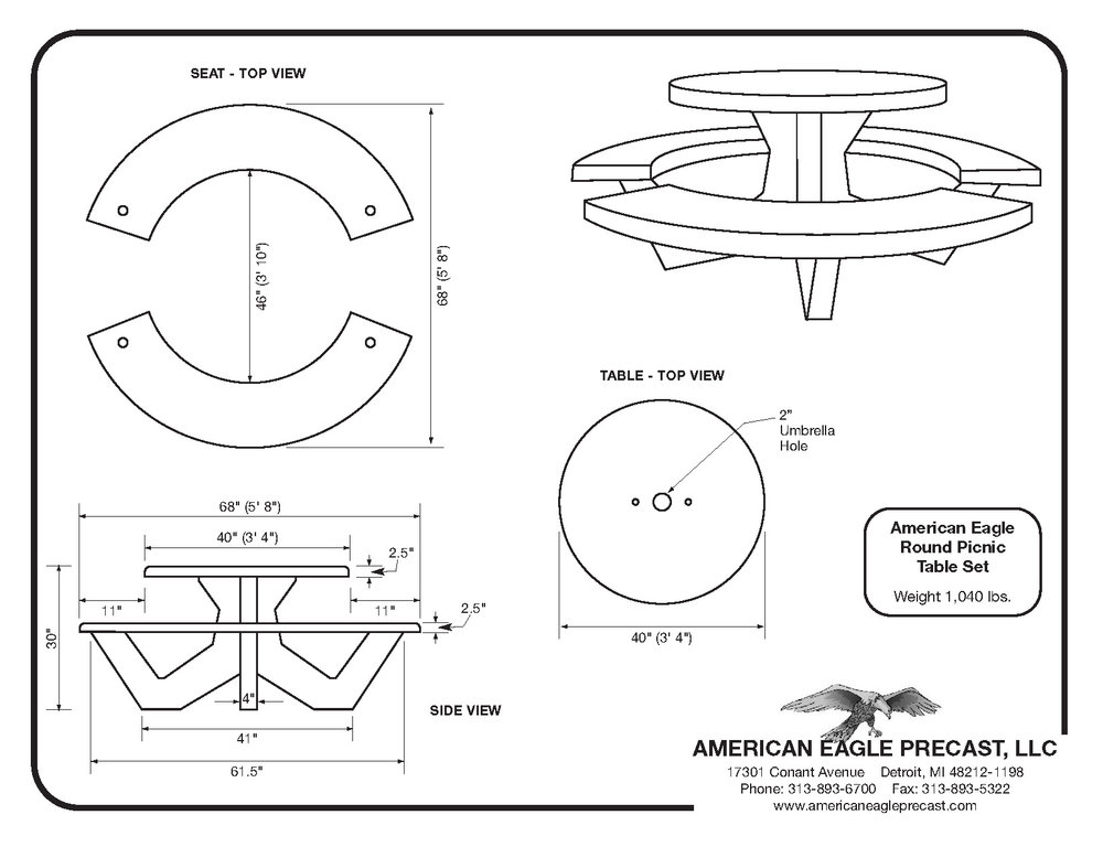 Round Picnic Table Spec Sheet