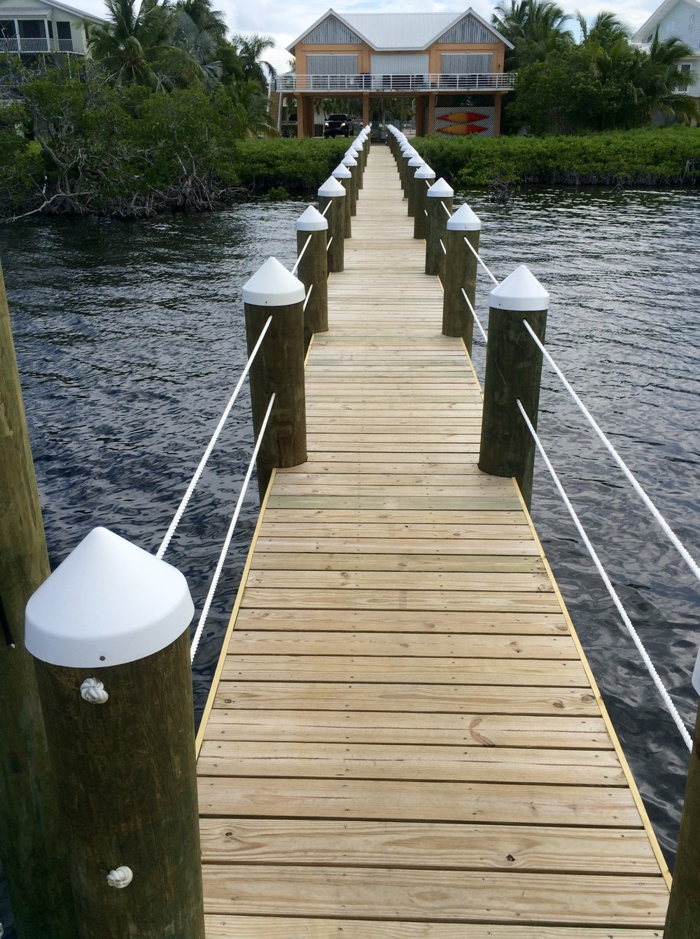 New wood Dock Located in Key Largo, Florida