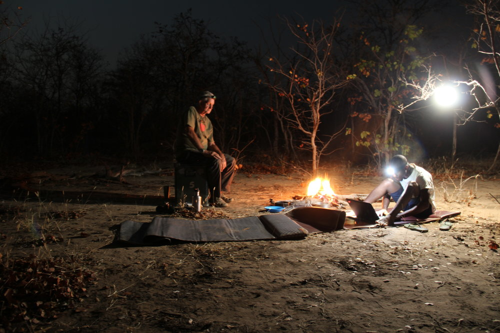 Camping in the bush after a long walk prospecting for fossils during the day.