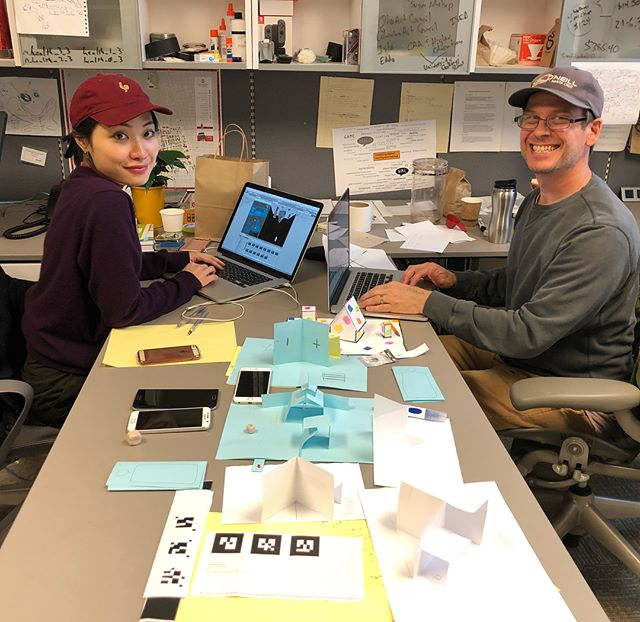 A few moments from @rosalieyu residency with Scott and Kyoung Swearingen last week! They are devising a physical digital pop up book as a tactical and intuitive gateway between generations. #accadatosu #ascatosu #humanetech #humanetechosu #wellbeing #AR