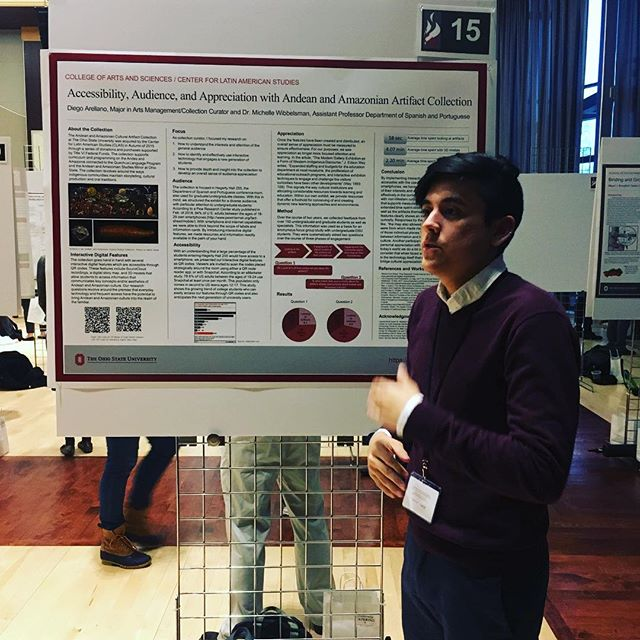 Diego represents #humanetechosu at the Denman undergraduate research forum! Great poster on Andean and Amazonian artifacts and museum display via VR