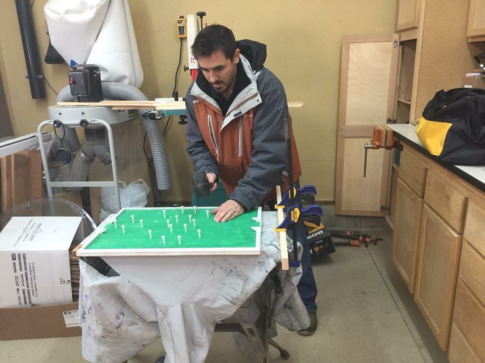 Jim working on the first Flickboard. (December 2014)
