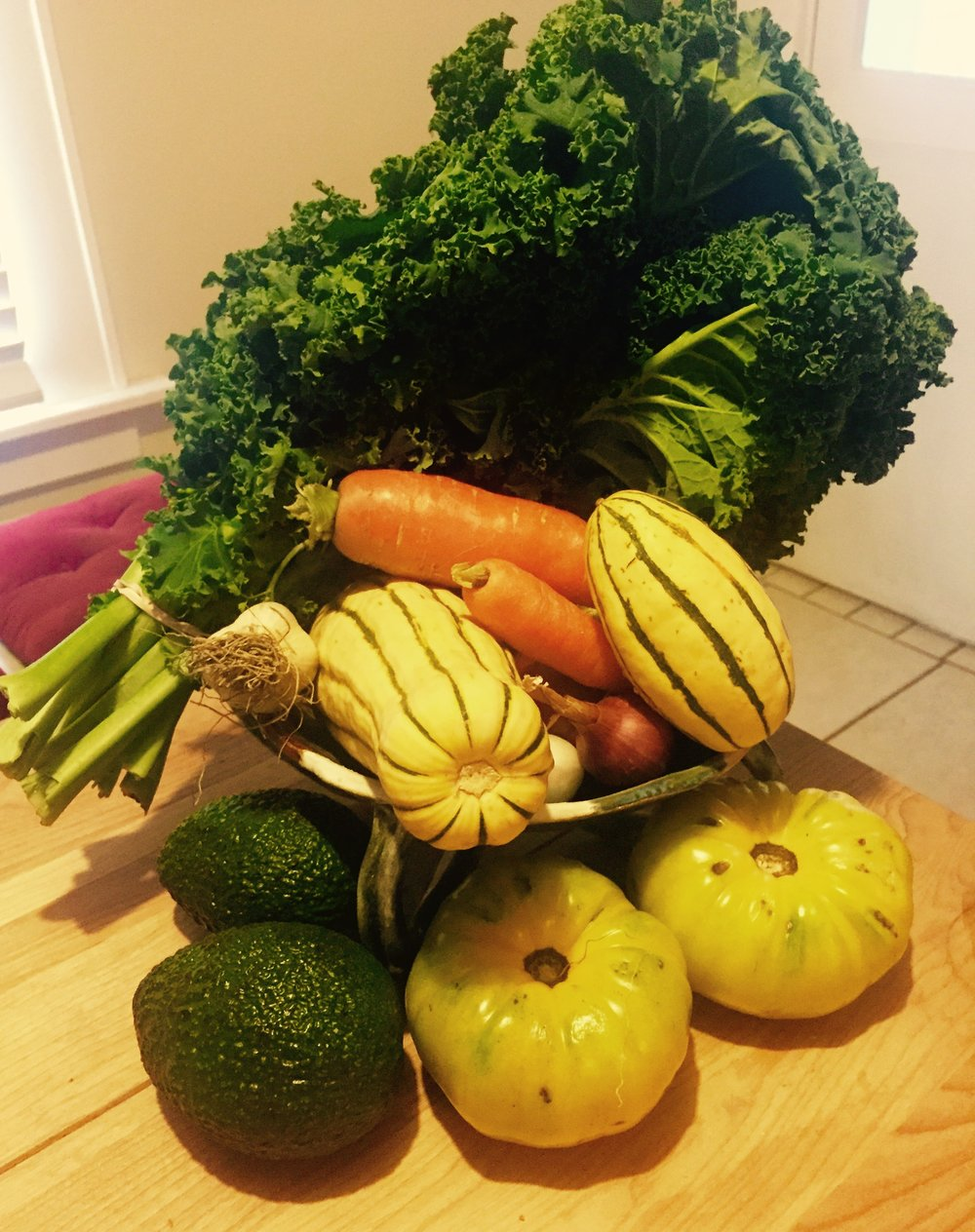 Beautiful fresh organic vegetables from the garden.