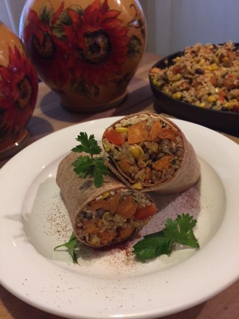 Sweet potato black bean burritos - plated burrito.JPG