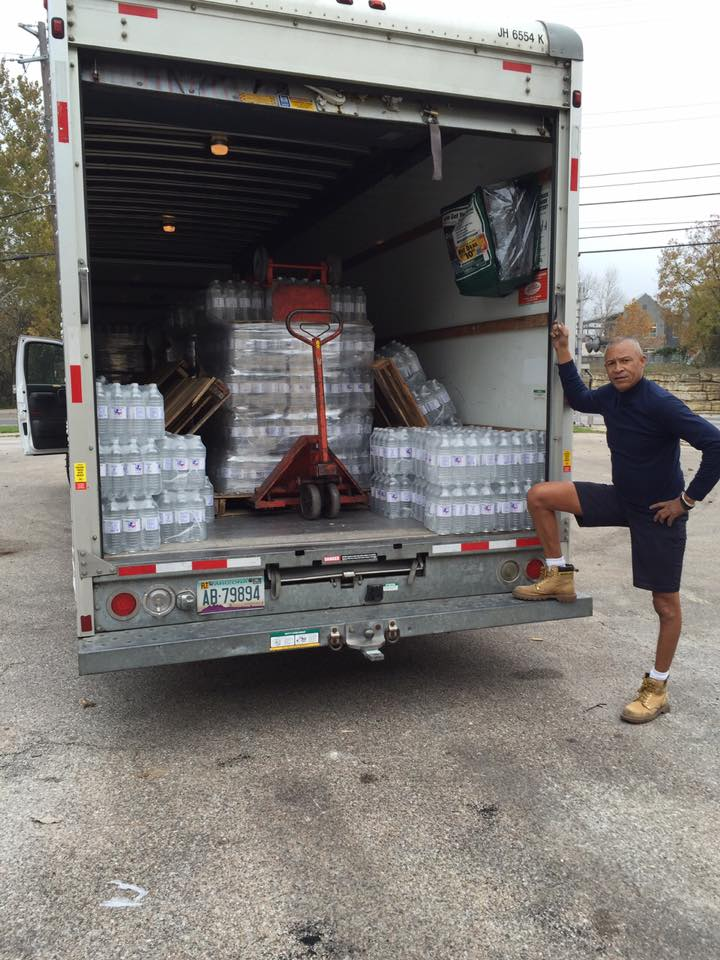 The Texas AFL-CIO hauling a shipment of water to Corpus Christi during a water crisis.
