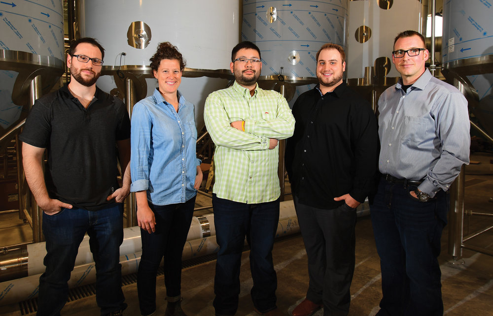 Key Trans Canada Brewing Company Team Members (left to right): Josh Adler—Quality Assurance, Morgan Wielgosz—Head Brewer, Matt Tallman—President, Thomas Schneider—Timmy Tom's Pizzeria Head Pizzaiolo and Jeff Wirt—Administration Leader.