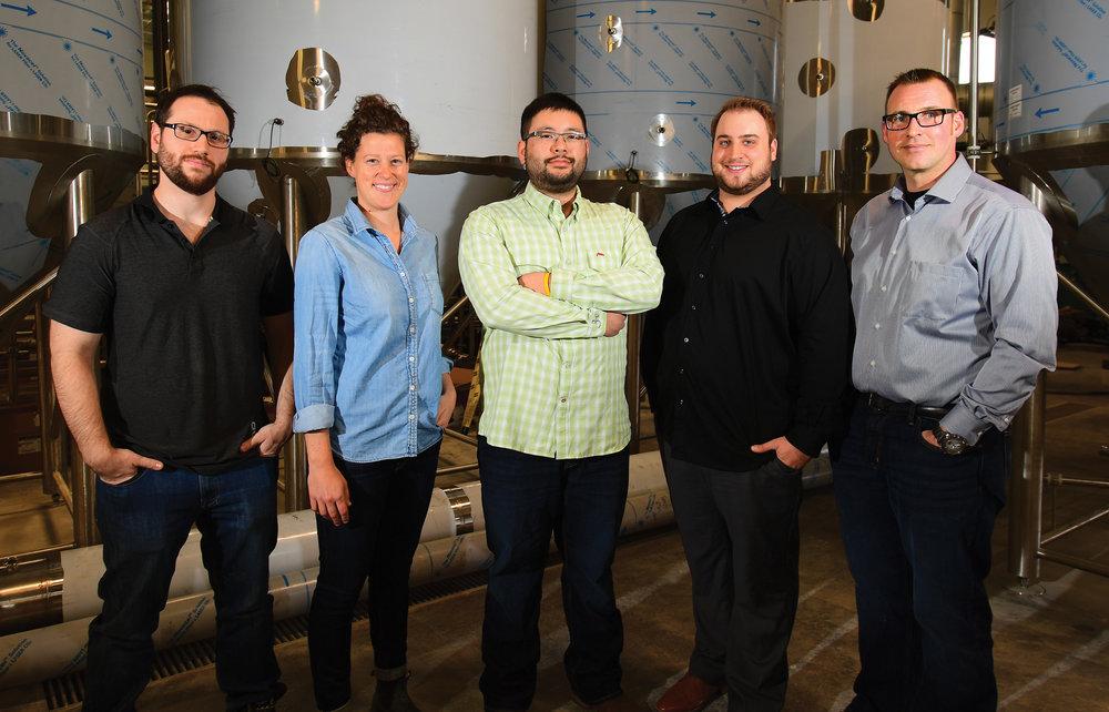 Key Trans Canada Brewing Company Team Members (left to right):Josh Adler—Quality Assurance, Morgan Wielgosz—Head Brewer,Matt Tallman—President, Thomas Schneider—Timmy Tom's Pizzeria Head Pizzaiolo and Jeff Wirt—Administration Leader.