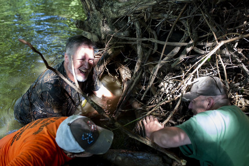 Vince, Joe, and John Clemens all reach into the the roots of a fallen tree to try to catch a snapping turtle.