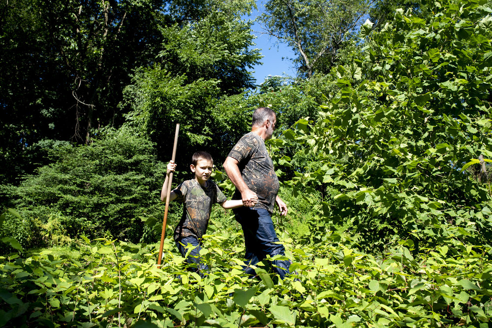Vince Clemens and his son, Adyn Clemens, of North Huntingdon, walk through the brush to get to Brush Creek in Penn, where they hunt for snapping turtles on July 7, 2018.