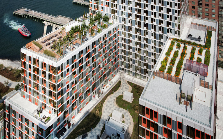 Hunters Point South, an affordable housing complex in Long Island City, Queens, has a 2,300-square-foot communal garden, right, that is tended by about 100 tenants who are members of a garden club. The garden is run by GrowNYC.Steve Freihon