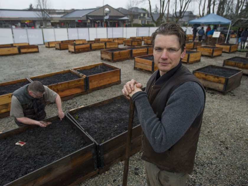 Chris Reid is the executive director at Shifting Growth, which sets up community gardens in undeveloped properties throughout the Lower Mainland. Reid is pictured Saturday, April 8, 2017 at the Alma community garden in Vancouver, B.C. JASON PAYNE / PNG