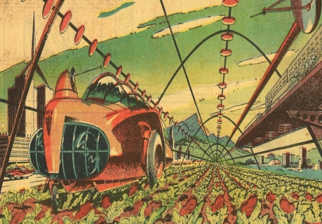 """September 28, 1958—A Sunday comic strip by Gene Fawcett envisions a future of farming in which """"fat plants"""" and """"meat beets"""" are used to cut down on the amount of farmland devoted to cattle pasture. (Image: nextnature.net)"""