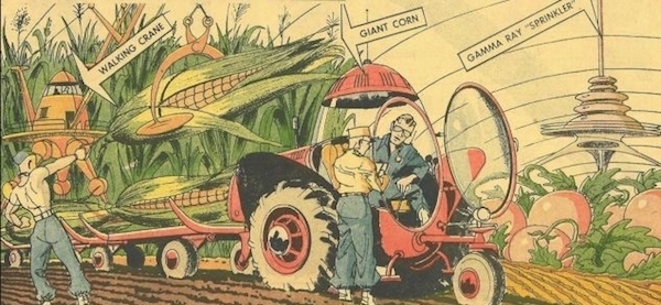 An unidentified comic published in 1963 depicting giant corn, robots and a gamma ray sprinkler on a futuristic farm. (Image: Google Images)