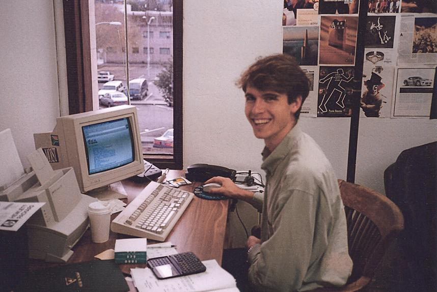 Kimbal in his Zip2 office, 1996. PHOTO: COURTESY OF KIMBAL MUSK