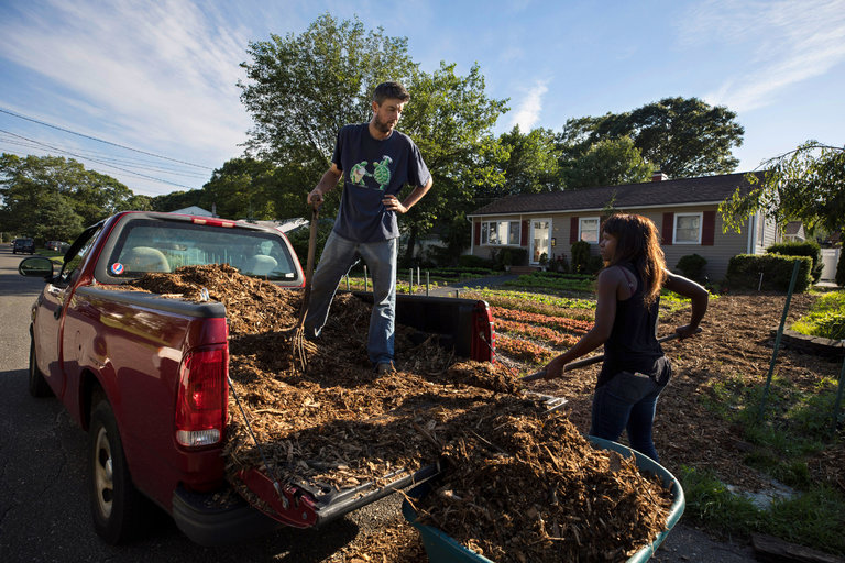 Jim and Rosette Adams, owners of Lawn Island Farms, at the home of Cassandra Trimarco in Bay Shore on Long Island. Ms. Trimarco volunteered to allow the couple to turn her front yard into a farm in exchange for a share of weekly produce. CreditJames Estrin/The New York Times