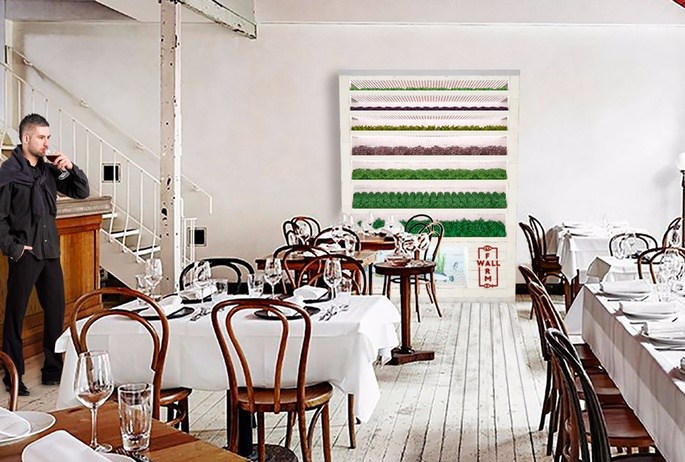 A rendering of a Farmwall inside a restaurant.