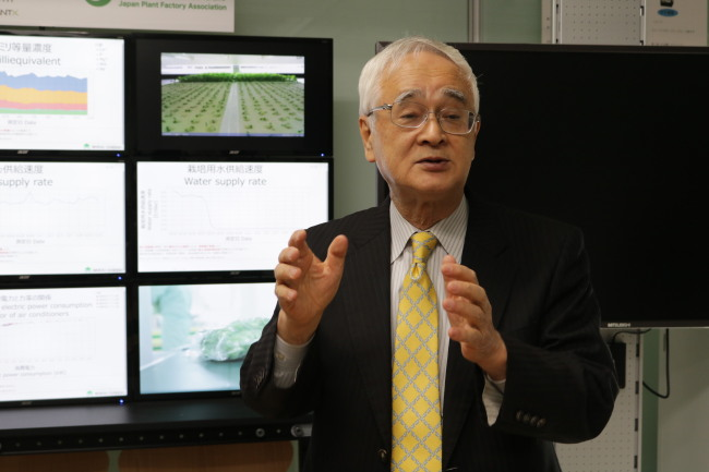 Toyoki Kozai, professor emeritus of Chiba University and president of the Japan Plant Factory Association, speaks to the press at an indoor farming facility in Chiba University in Chiba, Japan. (Son Ji-hyoung / The Korea Herald)