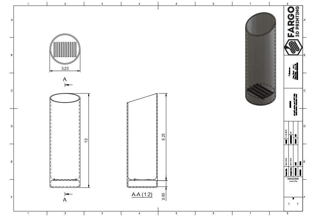 Design of Jake Clark's Indoor Garden Carrot Pods. Image via Fargo 3D Printing