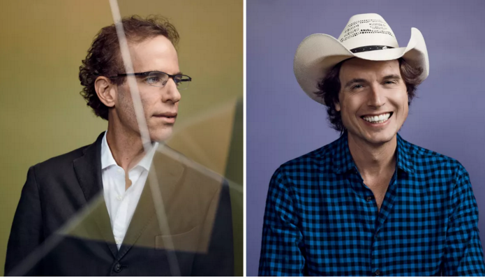 Dan Barber , left, and  Kimbal Musk are both developing earth-friendly ways to reinvent agriculture. [Photos: Jessie English ; Set Designer: Wunderkind; Grooming: Kay Louro]