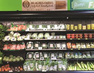 80 Acres Farms' shelf space at Clifton Market in Cincinnati, Ohio, which is just 2.4 miles from the company's farm.