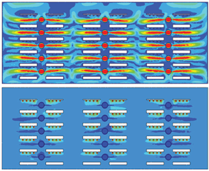 Fig. 2 . Computer simulation analysis of climate (e.g. air velocity and temperature) uniformity in a vertical farm system (Zhang and Kacira, 2017) Graphic: Murat Kacira