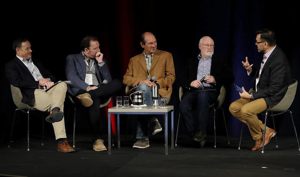 SESSION: State of the Nation panelists, Ausveg CEO James Whiteside, PMA A-NZ CEO Darren Keating, University of Qld's Professor Jimmy Botella, science writer and communicator Julian Cribb, with Hort Connections MC, Toby Travanner.