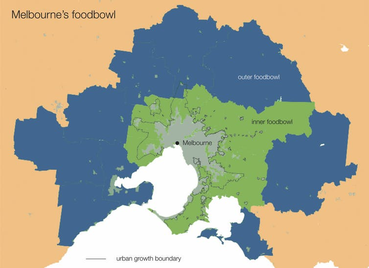 Areas outside Melbourne identified as 'foodbowls' for city-fringe farming. Foodprint Melbourne