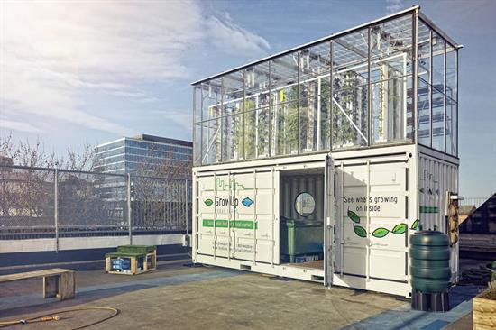 Above:  Adapting disused structures reduces the initial cost of vertical farms. (image courtesy of GrowUp Urban Farms).