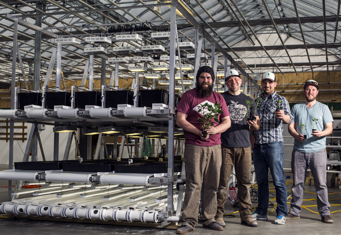 The Lettuce Lads show off their demonstration version of a high-volume, high-density hydroponics growing system at the Canmore Greenhouse on Saturday (April 6).   Photo credit:  Aryn Toombs / Rocky Mountain Outlook