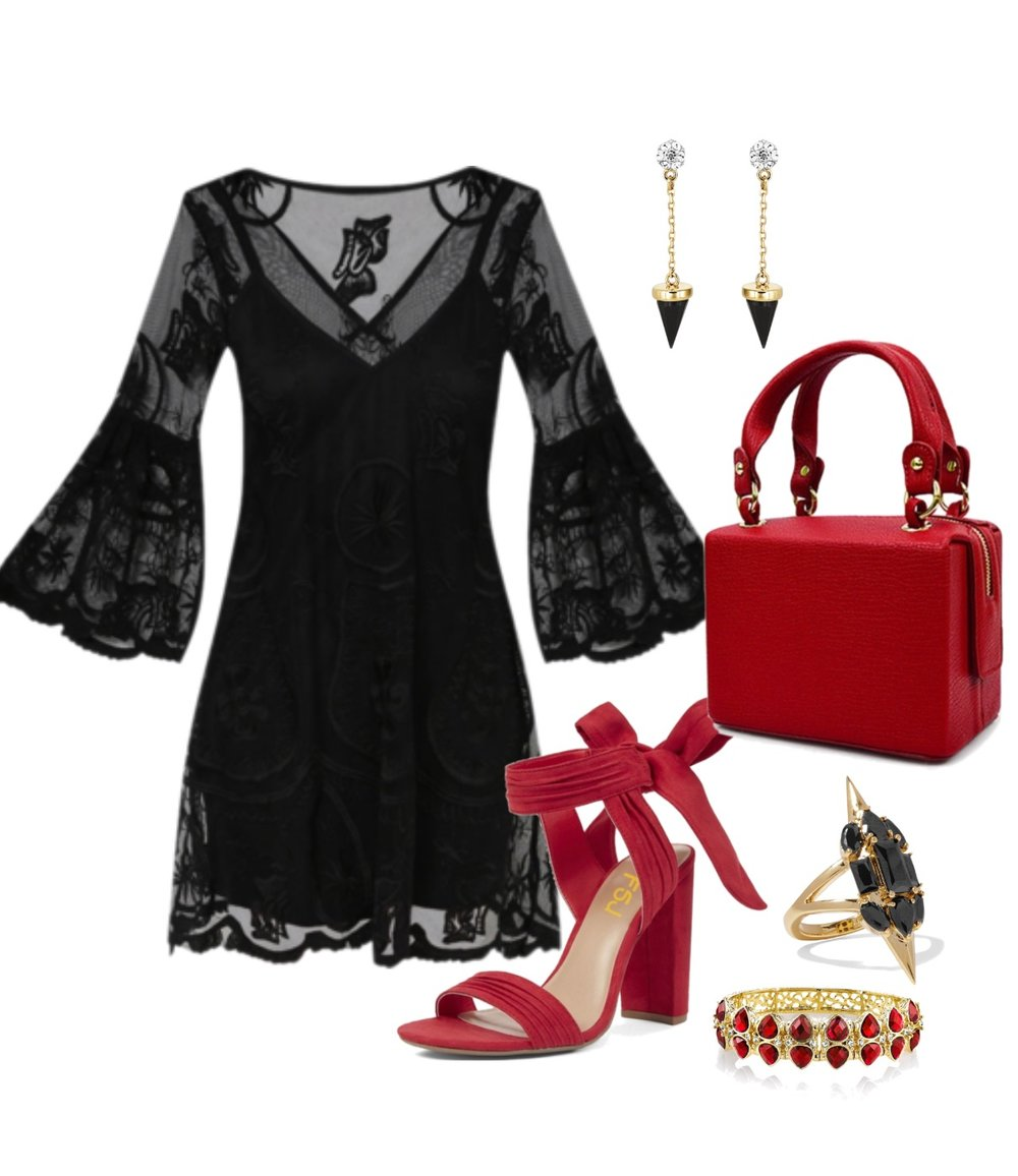 Jane will be attending a special event at the casino. She is originally from New Orleans and loves to party. We paired her with a little goth and sophistication, incorporating her love of black and favorite store Hot Topic.