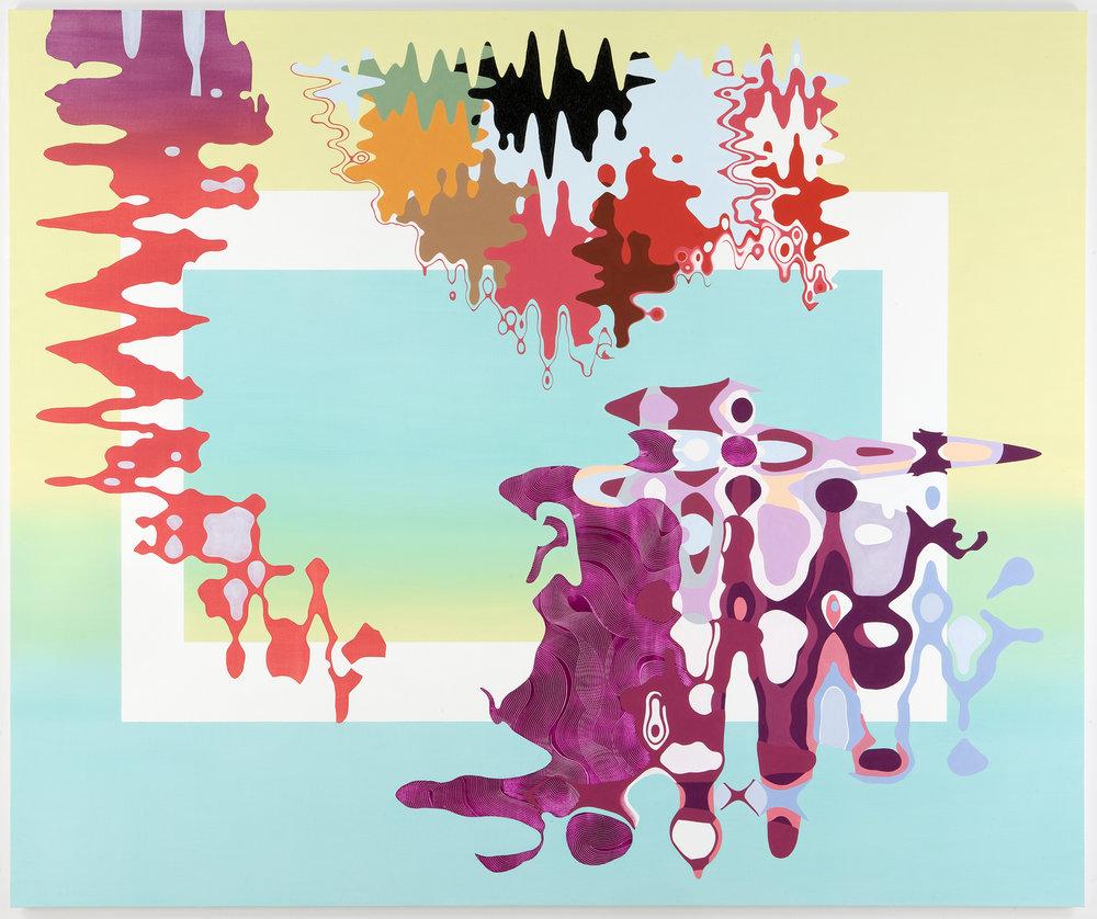 """PROVOCATIVE PLEASURE , 2008, Oil on linen, 75"""" x 90"""""""