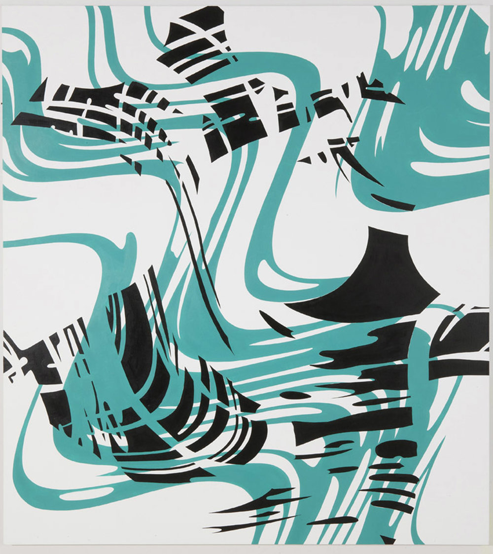 "PLUMB ASKEW , 2011, Acrylic on linen, 72"" x 63"""