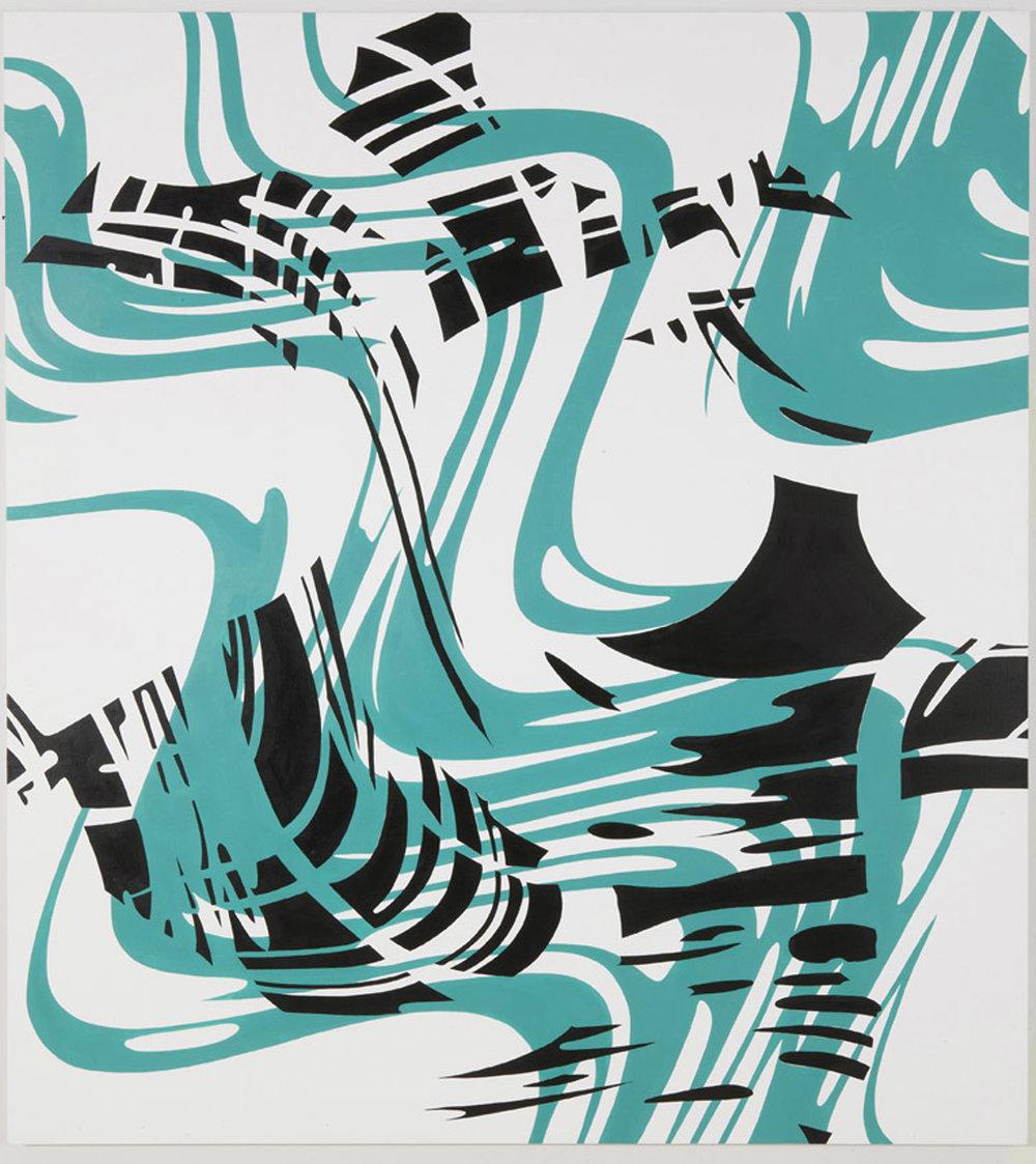 "PLUMB ASKEW , 2011, Acrylic on linen, 72"" x 63"""