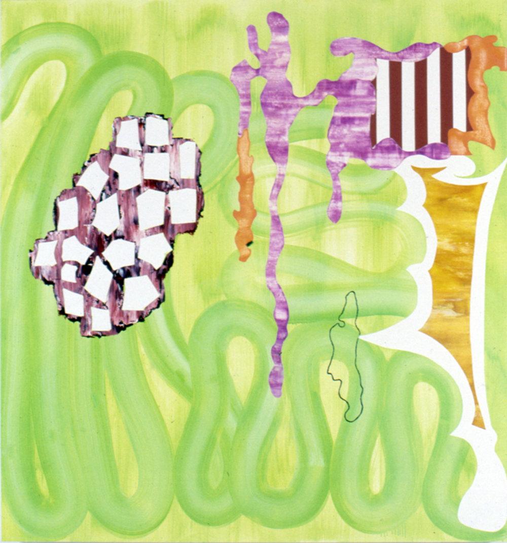 "TRANSMUTABLE VALUE , 1992, Oil on linen, 54"" x 50"""