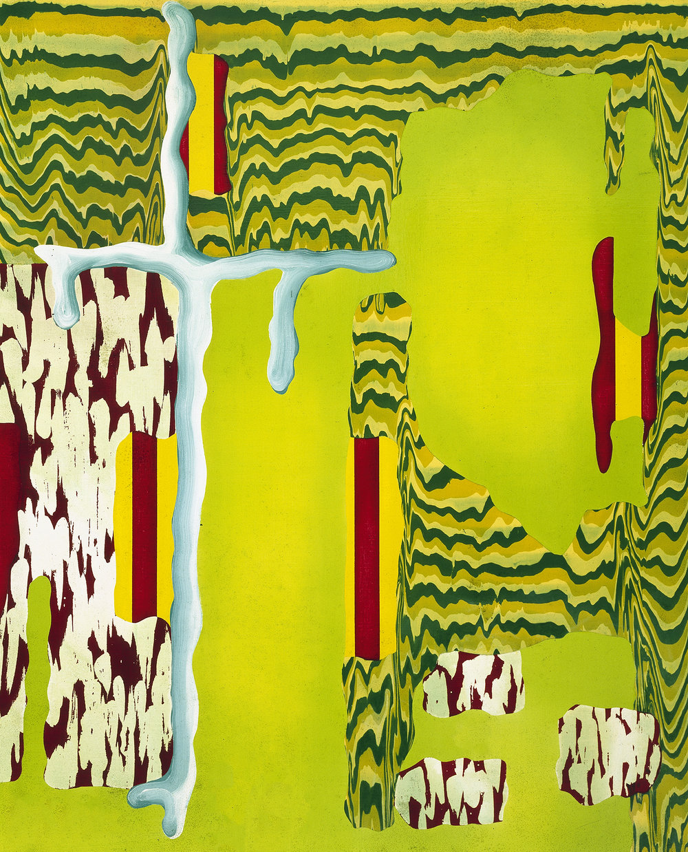 """THE IMPERVIOUS FALLACY , 1995, Oil and Acrylic on linen, 52 x 42"""""""