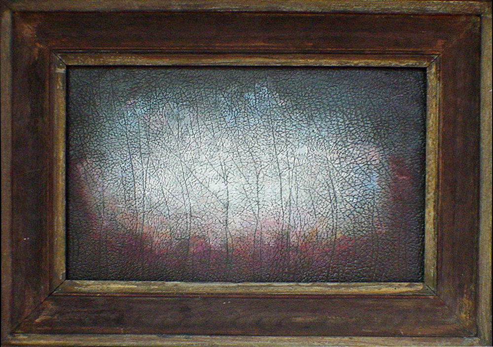 Treeline, Oil on Leather, 18x30 in, 2008, sold