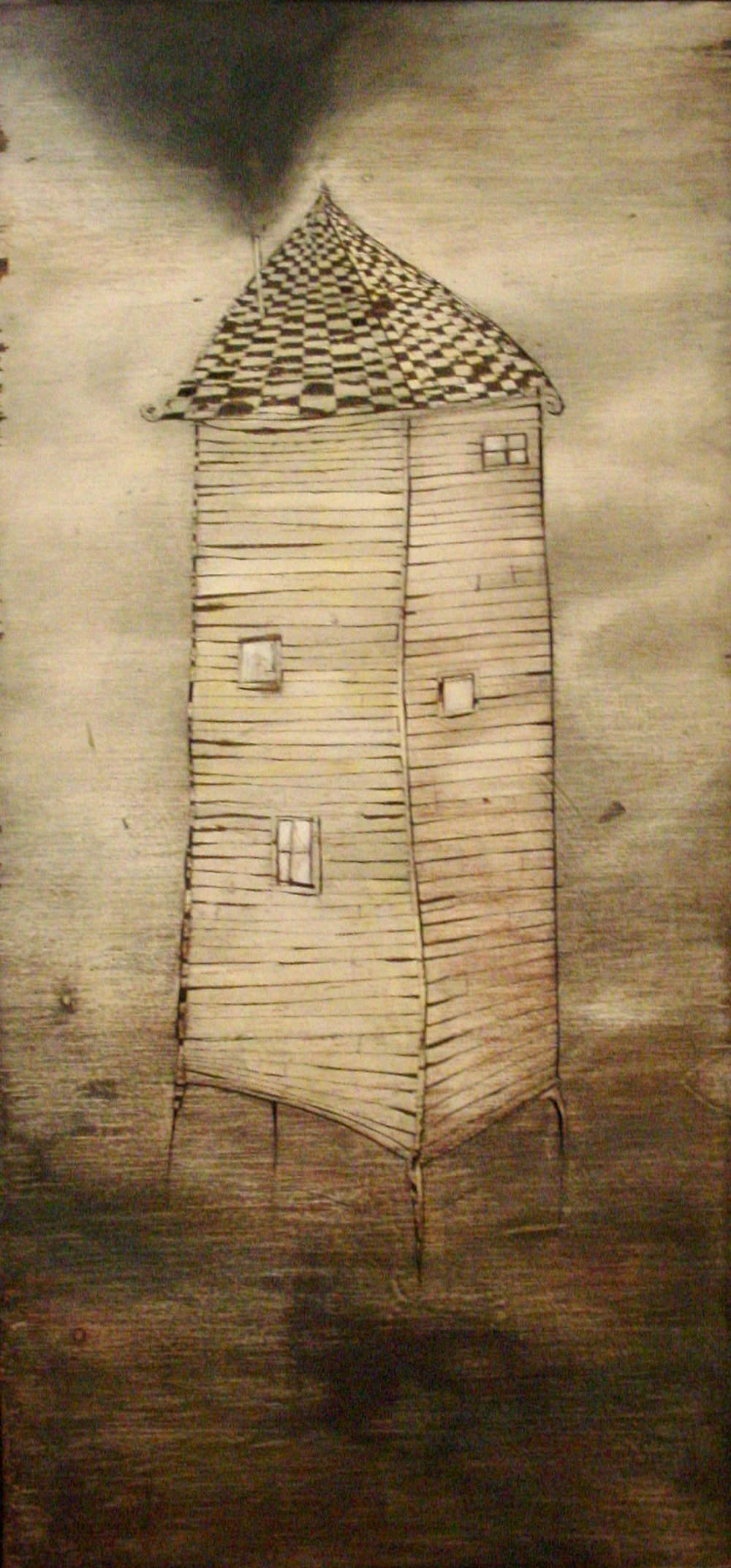 Smoke Tower, Oil on Wood, 24x50 in, 2009, sold