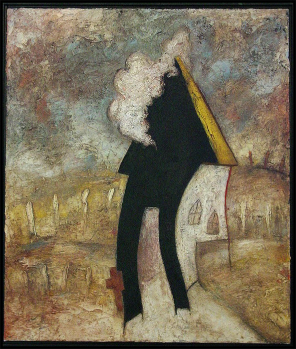 Burning Church, Oil on Canvas, 30x24 in, Robert Hite, 2005, sold