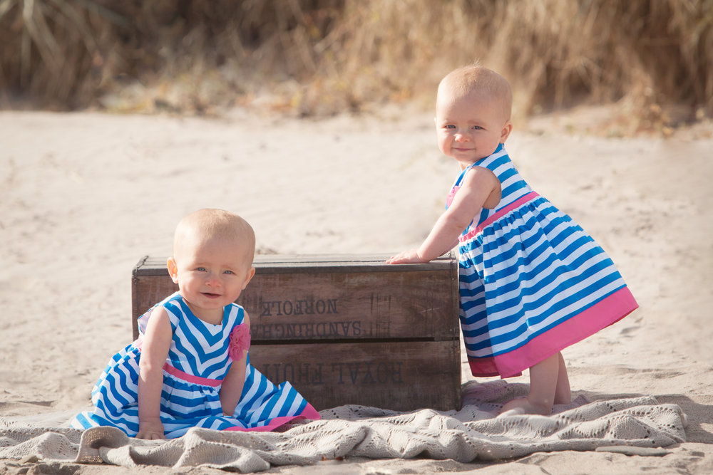 twin baby girls on Berwick beach