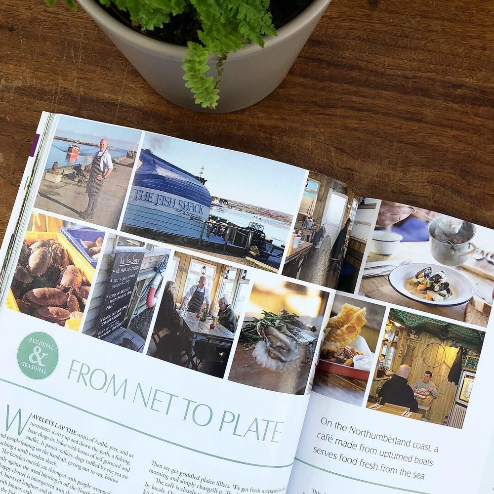 landscape magazine flat lay from net to plate regional seasonal article northumberland coast fish restaurant photography