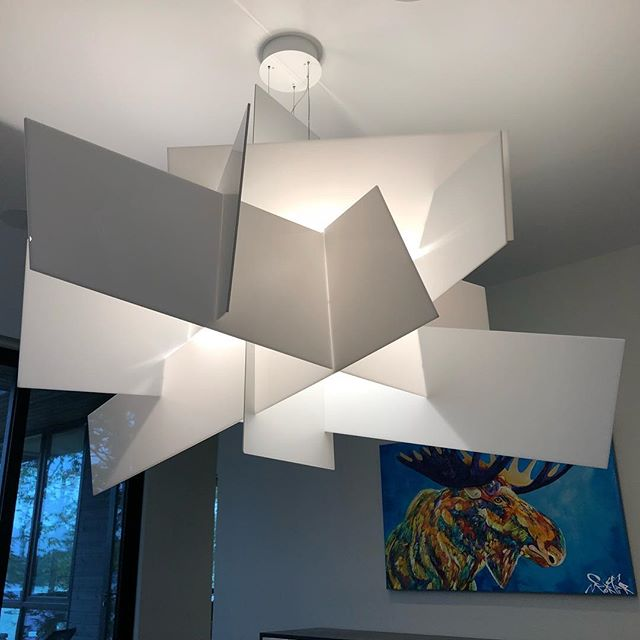 Loving this #bigbangXL light fixture we installed today. Finishing a beautiful cottage on #lakemuskoka just in time for Thanksgiving!
